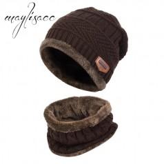 вязаная меховая шапка и шарф-горловина для девочек и мал