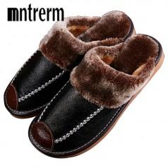 зимние кожаные тапки с мехом