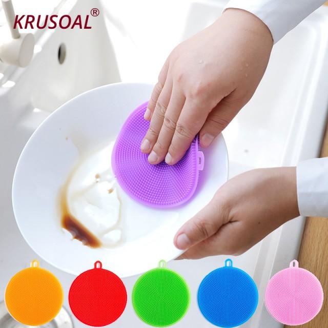 силиконовая щетка для мытья посуды «кошачий язык» со множеством мягких